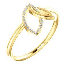 14kt Yellow .05 CTW Diamond Double Leaf Ring