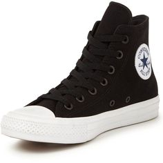 Converse Chuck Taylor All Star Ii Hi-Tops (€62) ❤ liked on Polyvore featuring shoes, sneakers, converse, chunky sneakers, black hi top sneakers, black sneakers, high top shoes and lightweight breathable sneakers