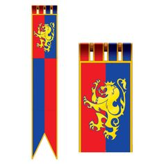 Beistle 57719 Medieval Pennant Banner, by Medieval Banner, Medieval Party, Viking Party, Party Wall Decorations, Party Themes, Party Ideas, Hanging Decorations, Red And Blue Flag, Knight Party
