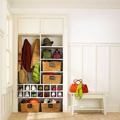 Entryway & Mudroom Inspiration & Ideas {Coat Closets, DIY Built Ins, Benches, Shelves and Storage Solutions} Open closet Front Closet, Entry Closet, Hall Closet, Closet Mudroom, Garage Entry, Mudroom Cubbies, Closet Space, Shoe Closet, Entryway Storage