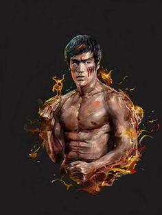 'Bruce Lee Fire Art' Canvas Print by Desire-inspire Arte Bruce Lee, Bruce Lee Poster, Kung Fu, Material Arts, Karate, Bruce Lee Frases, Bruce Lee Pictures, Bruce Lee Martial Arts, Brandon Lee