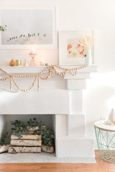 That mantel and faux fireplace. Love the  white/pale colors to accentuate the light. Gorgeous!