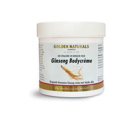 Golden Naturals Ginseng bodycreme is een natuurlijk geneesmiddel dat heilzaam is voor de huid. De Koreaanse Giseng word als de allerbeste en sterkste ter wereld beschouwd. Tevens heeft het een zeer sterke zuiverende werking en zorgt het voor een goede flora op de huid. Er worden  in dit product geen dierlijke grondstoffen gebruikt.