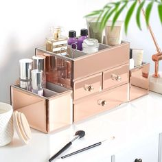 Beautify Large Mirrored Rose Gold Glass Jewelry Box & Cosmetic Makeup Organizer with 3 Drawers and 9 Sections: Home & Kitchen