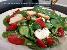 Spinach Salad with Roasted Chicken  Full recipe at http://Fb.com/healthywwise  ✿Check out Skinny Fiber!! --> http://tiredoftheweight.com  Friend or follow Jackie Nelson @jackiesbc16 @browninkus  #jackiesbc16 #browninkus #getfit #weightloss #lawofattraction #follow4follow #recipes #skinnyfiber #skinnybodycare