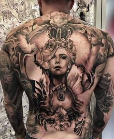 Back tattoo charlise queen with angels Full Back Tattoos, Back Tattoos For Guys, Full Body Tattoo, Body Art Tattoos, Girl Tattoos, Sleeve Tattoos, Tattoos For Women, Tatoos, Backpiece Tattoo