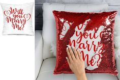 Sequin Mermaid Pillow - Marriage Wedding Proposal, Will you marry me