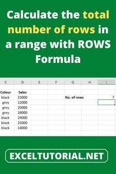 Calculate the total number of rows in a range with ROWS Formula . #Excel #microsoftexcel #Exceltutorial #Exceltutorials #Exceltutor #tutorialexcel #microsofttrainingexcel #microsoftexceltips #Excelformulas #Excelvba #Exceltips #Exceltipsandtricks #Excelvideo #Excelshorcuts Microsoft Excel, Excel Formulas, Excel Dashboard Templates, Excel For Beginners, Calculator, The Row, Entrepreneur, Study, Range
