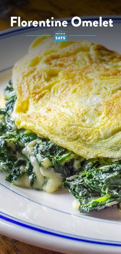 "In the world of cooking, dishes labeled ""Florentine"" almost always feature spinach, so it's no surprise that that's the calling card of this classic omelette. To round out all those healthy green leaves is a generous amount of melted Gruyere or Swiss cheese, but don't let the short ingredient list fool you: This omelette is packed with flavor. It's also packed with a generous amount of filling, which makes this five-egg omelette a meal that can easily fill two people. #Omelette #SeriousEats Easy Delicious Recipes, Amazing Recipes, Taiwanese Cuisine, Taiwan Food, Asian Recipes, Ethnic Recipes, Spinach And Cheese, Serious Eats, Molecular Gastronomy"