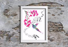 Hummingbird Watercolour,Music notes, Wall Art, Wall decor, Watercolor, Art Print by melOnDesign on Etsy