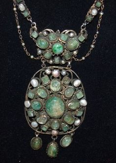 Austro- Hungarian Renaissance Revival Beryl Pearl Necklace from thegervaiscollection on Ruby Lane