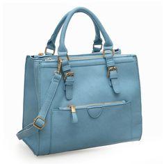 VK Front Buckle Handheld Bag With Double Zip Top - Blue