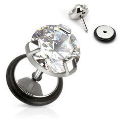 Body Jewelry Earrings Surgical Steel Fake Plug Single Pronged Cz Faux Sold As Pair Piercing Labret, Piercing Plug, Faux Piercing, Piercings, Body Piercing, Baby Earrings, Kids Earrings, Stud Earrings, Faux Écarteurs