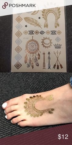 Metallic Temporary Tattoos Beautiful boho metallic temporary tattoos in sliver, gold, and black in beautiful aztec designs. Two arm bands. 12 smaller designs of a dreamcatcher, crown, arrows, feather, Native American headdress, small stars, and a sun and moon. Accessories