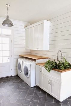 Vision for The Laundry Room & Craft Room {My New House!} - The Inspired Room - Laundry Room and Mudroom by Studio Mcgee :: The Inspired Room Vision for the Laundry and Craft Room - Laundry Room Tile, Farmhouse Laundry Room, Laundry Room Storage, Room Tiles, Laundry Room Design, Basement Laundry, Laundry Area, Laundry Closet, Farmhouse Flooring