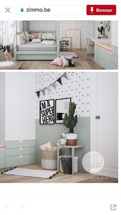 Kindergarten green a color like Pebble Green by Flexa is very nice in combination with Baby Room Decoration & Ideas & DIY Baby Boy Room Decor, Baby Room Design, Baby Boy Rooms, Baby Bedroom, Room Decor Bedroom, Kids Bedroom, Boys Room Colors, Nice, Room Ideas