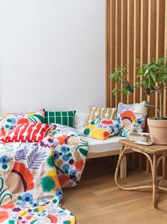 A colorful Marimekko pattern Home Interior, Interior Design, Interior Colors, Interior Modern, Marimekko Fabric, Scandinavia Design, Shabby Chic Antiques, Nordic Design, Home Collections