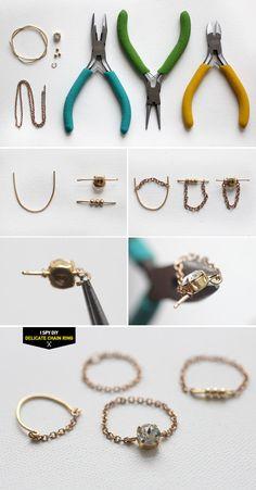 Diy jewelry: i spy diy steps delicate chain rings - diypi Wire Jewelry, Beaded Jewelry, Handmade Jewelry, Diy Jewellery, Diy Jewelry Rings, Fashion Jewelry, Jewelry Tools, Jewellery Making, Wire Crafts