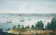 The Bay of New York Taken from Brooklyn Heights  William Guy Wall (Irish, Dublin 1792–after 1864 Ireland (active America))  Date: 1820–25 Medium: Watercolor on off-white wove paper