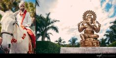 Our Indian groom very much enjoyed his traditional Baraat at the Hyatt Regency while this gold Ganesh statue oversaw the festivities! | Matt Steeves Photography | Florida Indian weddings at the Hyatt Regency Coconut Point | Fabulously Chic Weddings | St Petersburg Carriages