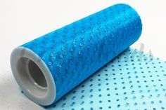 """Glitter Dot Tulle 6"""" x 10 Yards - Turquoise"""