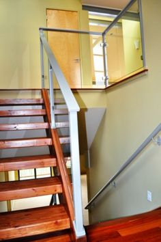 Choice Construction, Remodel, Custom Homes, Gig Harbor, Staircase, Wood Stairs, Metal Railing, Glass Panel Railing