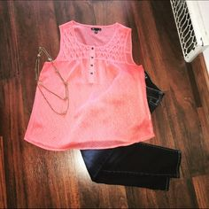 Gap flowy tank top Pretty coral gap tank, chiffon style, very flowy and comfortable! GAP Tops Tank Tops