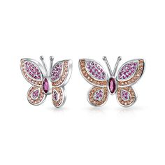 Bling Jewelry Simulated Pink Topaz Novemeber Birthstone Butterfly Animal CZ Stud earrings Rhodium Plated *** Learn more by visiting the image link. (This is an affiliate link) Fashion Earrings, Women's Earrings, Silver Earrings, Fashion Jewelry, Butterfly Pendant, Butterfly Earrings, Pink Topaz, Animal Jewelry, Bling Jewelry