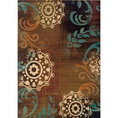 @Overstock - Primary materials: Polypropylene  Pile height: 0.31 inches  Style: Transitional   http://www.overstock.com/Home-Garden/Carson-Brown-Blue-Transitional-Area-Rug-67-x-96/6206603/product.html?CID=214117 $186.29