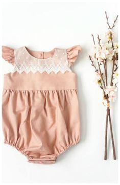 lovely easter outfit. Ruffle linen romper with lace trim. Bubble romper #spring #toddler #affiliate