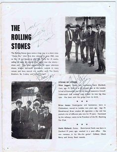 The Rolling Stones Autographs and authentic memorabilia. Mick Jagger. Keith Richards. Bill Wyman. Brian Jones. Ronnie Wood and Charlie Watts