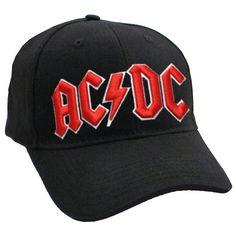 0e46a802534a2 AC DC Classic Red On White Logo Black Frayed Baseball Cap - Paradiso  Clothing