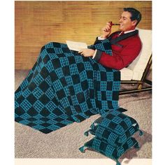 Masculine Block Crochet Afghan Pillow Pattern, C239 Checkmate.  An easy crocheted block motif in two colors. Crocheted up in darker colors, it does have quite a masculine quality, however, ladies might certainly enjoy as well ! The individual blocks are 3 1/2 inches each.