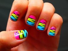 Zebra Multi Color Nails