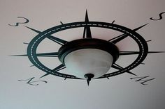 Gotta love the title of this post. How to Make the Best of Your Boob Light Fixtures {diy lights} (liking the compass rose! For the laundry room) Nautical Home Decorating, Coastal Decor, Decorating Ideas, Nautical Interior, Coastal Living, Coastal Homes, Coastal Bedrooms, Coastal Cottage, Diy Luminaire