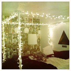I actually like the wall covered in pics and the idea of xmas lights!