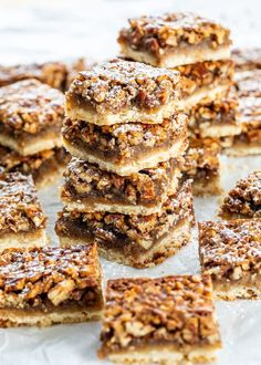 Best Pecan Bars These Pecan Pie Bars are sweet, crunchy, gooey, loaded with pecans, an easy shortbread crust and perfect for a crowd! Just like pecan pie but better! Best Pecan Pie Recipe, Pecan Recipes, Apple Recipes, Bar Recipes, Gluten Free Pecan Pie Bars Recipe, Southern Pecan Pie Recipe, Easy Pecan Pie, Paleo Pecan Pie, Pecan Pie Filling