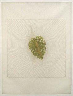 Remains IV, 2002 hosta leaf (eaten by slug), silk organza, thread  by Kyoung Ae Cho