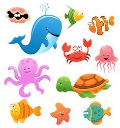 Animales marinos cartoon - Imagen vectorial de una divertida caricatura de animales marinos del fondo del mar