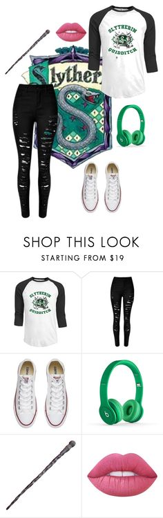 """""""Slytherin"""" by ticket-to-ride ❤ liked on Polyvore featuring Converse, Lime Crime, harrypotter, slytherin, GREEN and beats"""