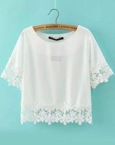 White Short Sleeve Floral Crochet Crop Top