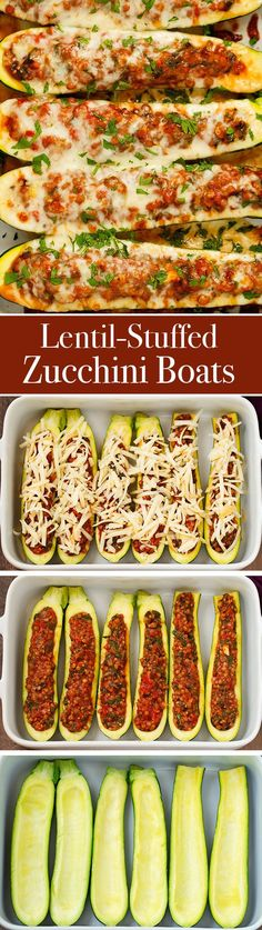 Lentil Stuffed Zucchini Boats - Less than 115 calories per boat and a whopping 8 grams of protein! These are so easy and delicous! #vegetarian #zucchiniboats #stuffedzucchiniboats | Littlespicejar.com @littlespicejar