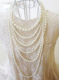 New Elegant Long 6 Row Pearl Necklace-Freeshipping