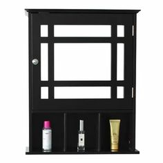 Great for Yampa W x H x D Wall Mounted Bathroom Cabinet by Ebern Designs storage-sale from top store Black Cabinets Bathroom, Wall Mounted Bathroom Cabinets, Bathroom Mirror Cabinet, Wooden Bathroom, Wall Mounted Mirror, Bathroom Storage, Mirror Door, Narrow Bathroom, Brown Bathroom