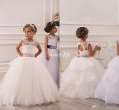 2015 Spring Flower Girl Dresses Vintage Jewel Sash Lace Net Baby Girl Birthday Party Christmas Princess Dresses Children Girl Party Dresses Online with $70.5/Piece on Sweet-life's Store | DHgate.com