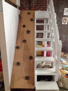 rock climbing/stairs to loft in childs room