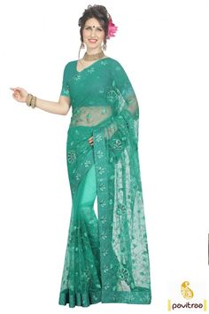 Get great influence in this divine light sea green net Indian wedding special vivah saree online shopping with price. This stylish wedding party saree adorned with embroidery work in sequence work pattern. #saree, #designersaree more: http://www.pavitraa.in/store/designer-sarees/