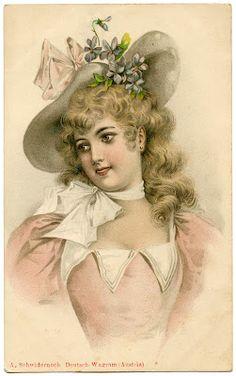 Vintage Lady Image with Easter Bonnet