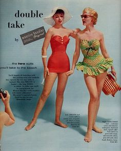 double take swimsuits - Bademode Vintage Bikini, Vintage Bathing Suits, Vintage Swimsuits, Vintage Shorts, Vintage Jeans, Vintage Lingerie, Vintage Dresses, Vintage Outfits, 50s Bathing Suit