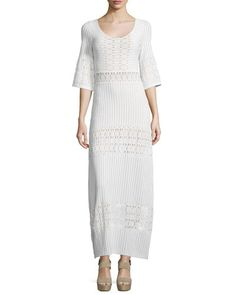 TBH3Q Nightcap Clothing Scoop-Neck Lace Maxi Dress, Ecru
